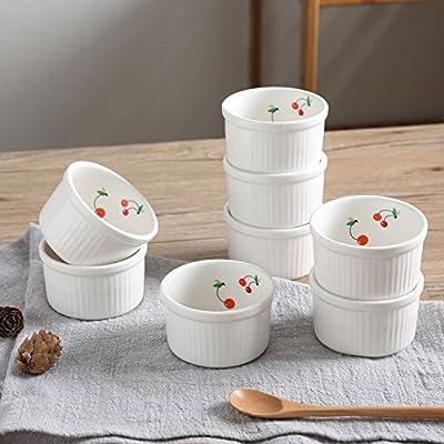 SOLECASA Porcelain/Ceramic Round Reusable Baking Cup,Ramekin,Cupcake Liners,Muffin Cup/Molds,Non-Stick