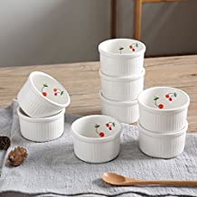 """{BIG BIG SALE FOR HOLIDAY}SOLECASA """"4.5-OZ/Set of 8"""" Porcelain/Ceramic Baking Cup,Cupcake Liners,Custard Cups,Creme Brulee Ramekin Set,Souffle Dishes,Cup/Mold for Muffin or Ice Cream"""