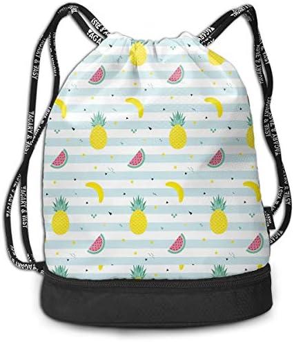 巾着バックパック Bundle Backpack スポーツナップサック フルーツ パイン スイカ バナナ 体操服収納 ジムサック 濡れ物用 内ポケット付 巾着袋 収納バッグ 大容量 乾湿分離 シューズ収納 男女兼用 39*41*17.5cm