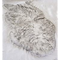 Rugs 4 Less Collection – Faux Fur Wolf Sheep Bear Imitation Animal Skin Fur Pelt Shag Rug - Ivory Tip Dyed Grey (32inx5ft)