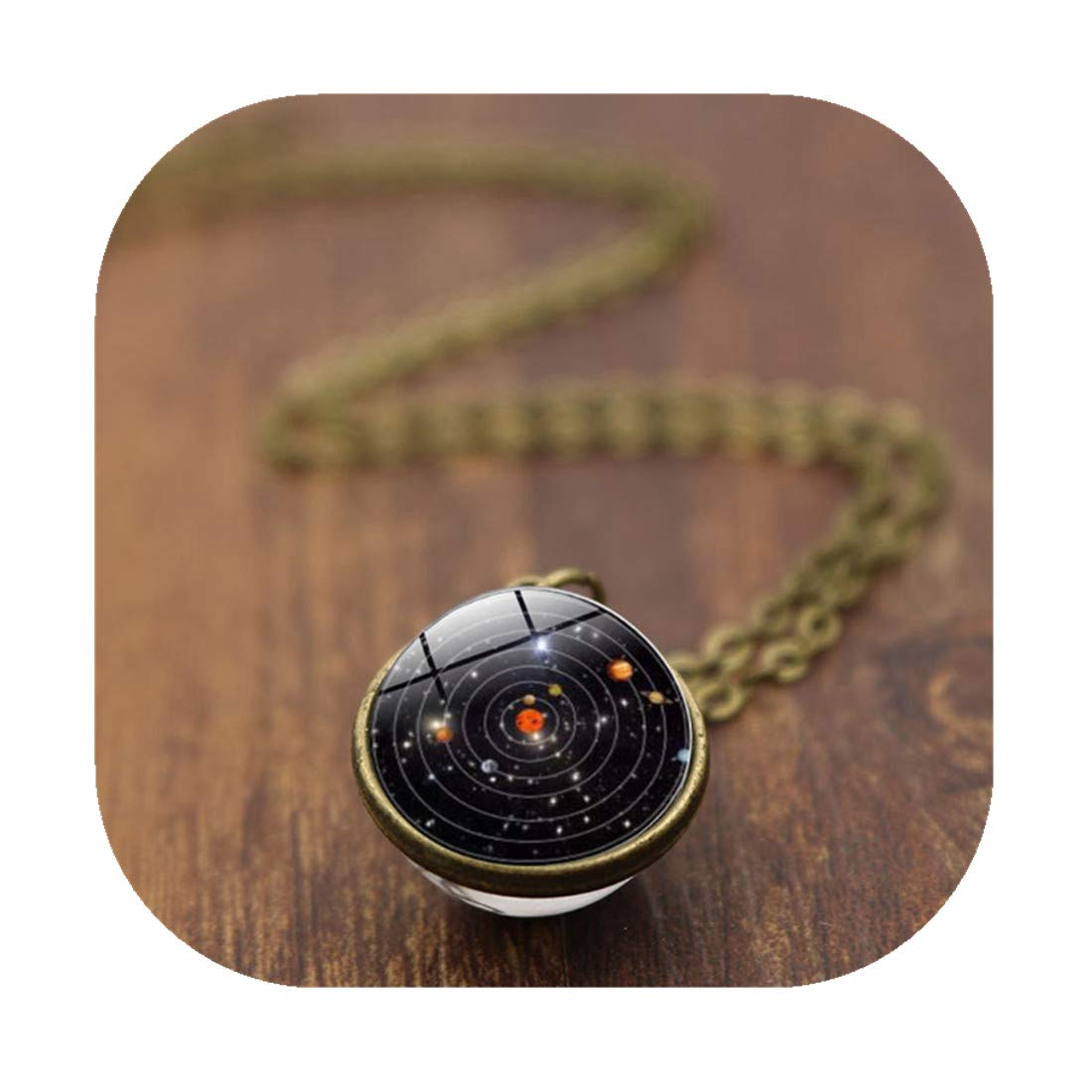 CHENCAN01 Solar System Necklace Pendant,Planet Necklace, Galaxy Jewelry,Stars Necklace,Planets,Two Sided Necklace (Bronze&12mm)