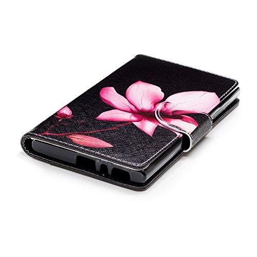 Funda para Sony Xperia L2 , IJIA Flores Hermosas TPU + PU Ranuras para Tarjetas de Crédito Flip Folio Caja [Estilo Libro,Soporte Plegable ] Cover Tapa Caso Parachoques Carcasa Cubierta para Sony Xperi