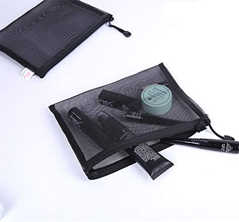5 bolsas de malla con cierre negro para guardar cosméticos, maquillaje, viajes, estuche, 22,8 x 17,8 cm: Amazon.es: Hogar