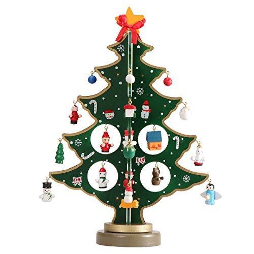 Tinksky miniatura ornamentos de navidad mini Árbol de Navidad de madera mesa de computadora Decoración Artes y Oficios...