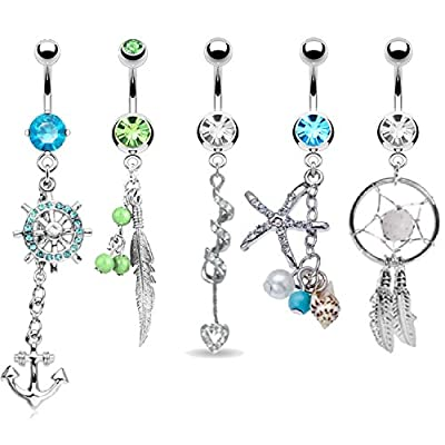 BodyJ4You 5PCS Belly Button Rings Tribal Dangle Set Surgical Steel 14G Curved Barbells Piercing Bar