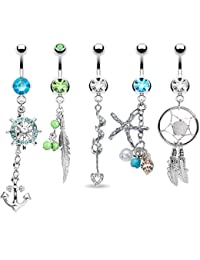5PCS Belly Button Rings Tribal Dangle Set Surgical Steel 14G Curved Barbells Piercing Bar