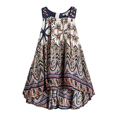 BFRMLY Bohemian Dresses for Girls Short Front Long Back Kids Jumper Boho Dress Tribal Ethnic Size 3-4 ()