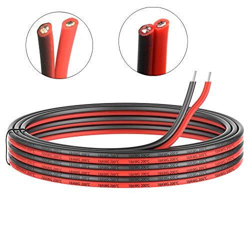 (18 Gauge Electrical wire 2 Conductor parallel silicone wire 100ft [Black 50ft Red 50ft] 18 awg 200 Deg C 600V flexible Extension cable cord Stranded Tinned copper wire Hookup Model lead wire)