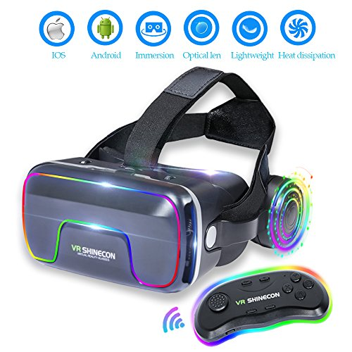 3D Vr Glasses Vr Virtual Reality With Bluetooth Remote Controller For 3D Games Movies  Lightweight With  Adjustable Pupil And Object Distance For Apple Iphone More Smartphones