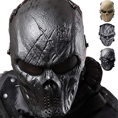 Scary Face Masks (Outgeek Airsoft Mask Scary Skull Outdoor Full Face Mask Mesh Eye Protection)