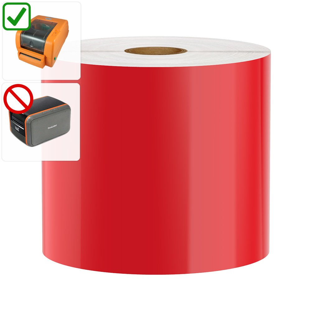 DuraLabel PRO Compatible Premium Vinyl Tape, Red, 4'' x 150'