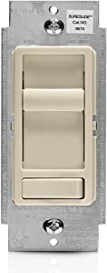 Leviton 6674-P0T SureSlide Universal 150-Watt LED and CFL/600-Watt Incandescent Dimmer, Light Almond