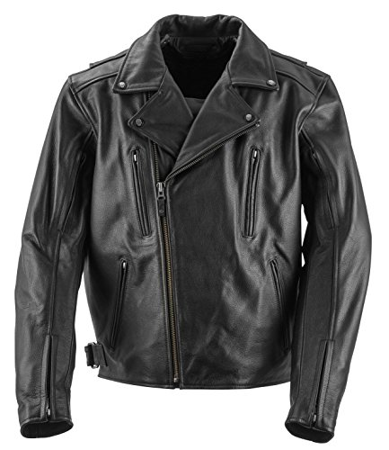 Black Brand Men's Leather Neanderthal Motorcycle Jacket (Black, Medium)