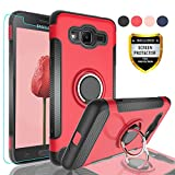 AYMECL Samsung Galaxy Grand Prime Case,Galaxy J2 Prime Case with HD Screen Protector, Rotating Ring Holder Dual Layer Shock Carbon Fiber Trim Cover for Samsung Galaxy Grand Prime G530-QV Red