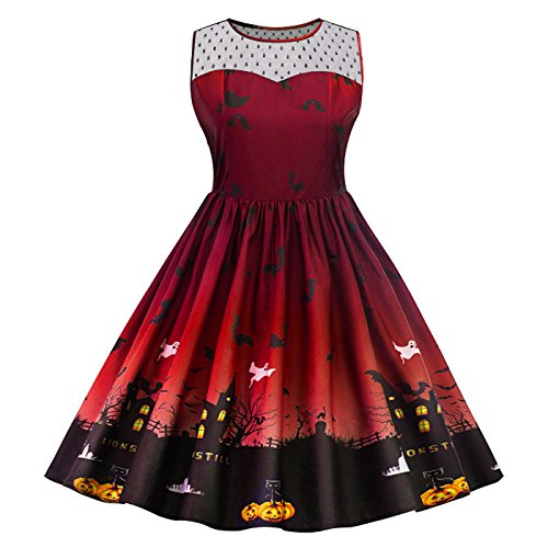 Sans Manche SERAPHY Robe Femme Audrey Party Robe Rouge Patineuse Swing Rtro Rockabilly pour 1950s Halloween Vin q4Arqg