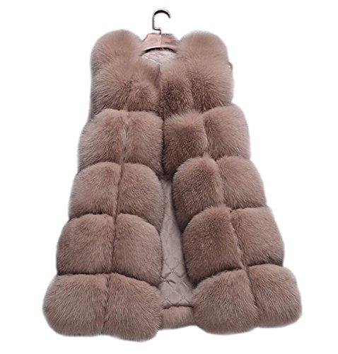 aorui Lady de cálido chaleco chalecos de Real de piel de zorro caqui
