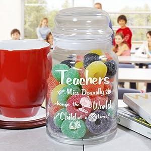 Personalized Teacher Treat Jar, Holds 26 oz, Dishwasher Safe