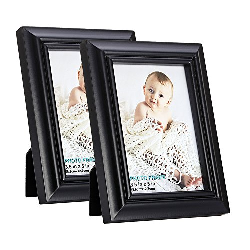 - RPJC 3.5x5 Picture Frames (set of 2) Made of Solid Wood High Definition Glass for Table Top Display and Wall mounting photo frame Black