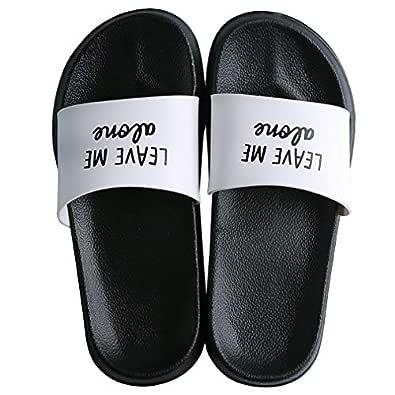 ALOTUS Fashion Word Slides for Unisex Classics Cool Anti-Slip Casual Women Slide Sandals for Summer Men Flat Slip-On Comfortable Boys Slipper Shoes Plus Size White Size: US 5.5-6 Women