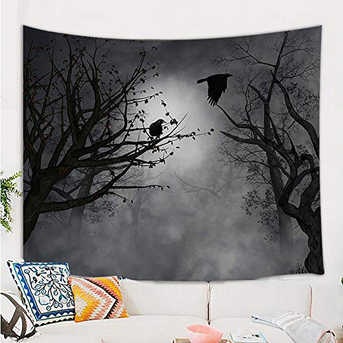 Forest Halloween Music (Mystic Fog Forest Tapestry Gothic, Birds at Branches On Creepy Jungle at Deep in Dark Forest Tapestry Wall Hanging, Halloween Tapestry Blanket Wall Decor for Bedroom Living Room Dorm, 60X40)