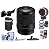 Sony 18-135mm f/3.5-5.6 OSS E-Mount NEX Camera Lens - Bundle 55mm Filter Kit, Flex Lens Shade, Peak Lens Changing Kit Adapter, Lens Case, Capleash II, LensPen Lens Cleaner, Software Package