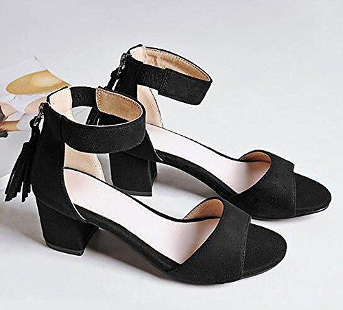 SYYAN Femmes Cuir Gland Fermeture éclair Open Toe Fait Main Pompe Robe Des Sandales , black , 36