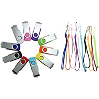 CaseBuy 10pcs 16GB Flash Drive with Activity Indicator Light - Bulk Variety Pack - USB 2.0 Swivel Design with 10 Color Lanyards (16GB,10 Colors)