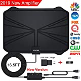 HDTV Antenna, Amplified HD Digital TV Antenna with Long 65-100 Miles Range with Adjustable Amplifier Signal Booster 4K 1080P HD Life Local Channels Support All TV's -16.5ft Coax Cable/Power Adapter