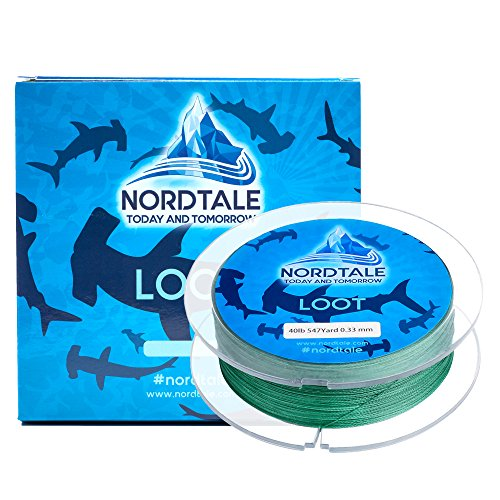 Spool 150 Green Yard Braid - Nordtale Loot Braided Fishing Line 300yards 547yards - Improved Braided Fishing Lines - Abrasion Resistance - Zero Stretch - Thinner Diameter 6lb-80lb (Moss Green, 15lb 150-Yard 0.18 mm)
