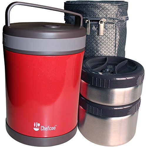Lunch Box Vacuum Container by Chefcoo Keep Your Food Warm with Double Walled 2 Flask Thermos Jars (1.3Lt) - Easy Carrying Bag - Best for School, Work, Travel, Hiking, Camping, Picnics