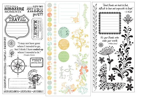 3-pack Rub-Ons, Timeless Frames, Lilac Avenue Flourishes, Lush Collection (in color) - in handy zip - Flourish Journals