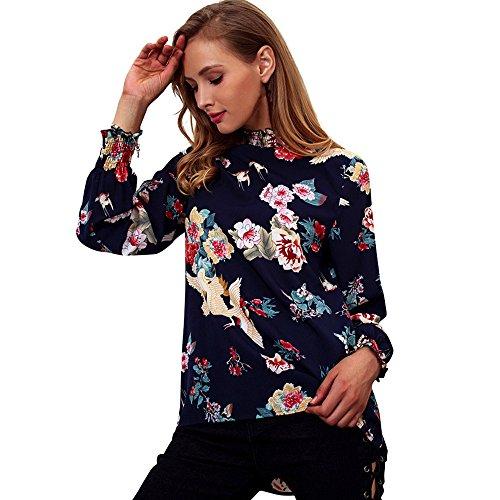 トップス 女性、三番目の店 ファッション 女 カジュアル ロングスリーブ シフォン フリルブラウス フラワープリント シャツ