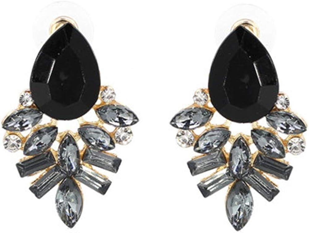 Pendientes ZZHH Pendientes de moda Pendientes de diamantes de imitación de metal dulce y piedras preciosas Pendientes de mujer Pendientes de cristal Al por mayorgris