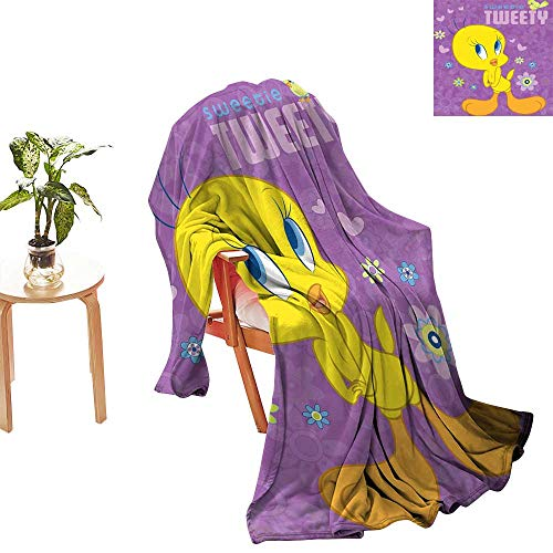 yloveme Outdoor Blanket Sweetie Tweety Bird Plush Raschel Twin Size Blanket Warm Cozy Bed ()