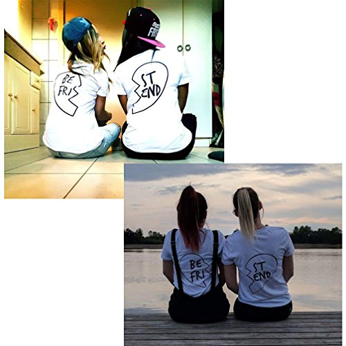 Minetom Mujer Verano Mejores Amigos Cuello Redondo Manga Corta Camisetas Casual Moda Slim Fit Blusa T-Shirt Tops Regalo De Cumpleaños Blanco B