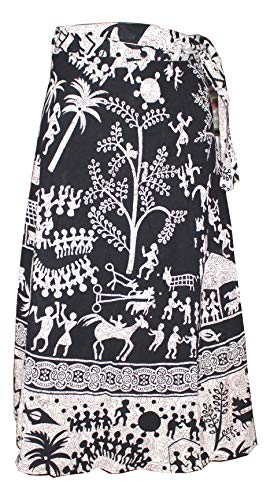 Cotton Wrap Around Skirts - rajwada-fashion Women Cotton Wrap Around Skirt Dress Indian Ethnic Rapron 100% Cotton Jaipuri Printed (Color Black)