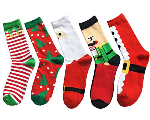 TTMOW Mens Christmas Holiday Cool Novelty Cotton Long Crew Casual Socks Pack (5 Pairs)