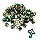 Italian Colored French Cloisonne Notre Dame Rosary - Green and Multicolored Flower Christian / Catholic Gift Prayer Beads in Nondenominational Gift Box - Rosario Verde