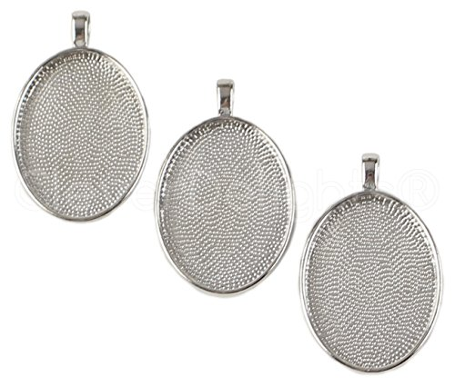 CleverDelights 50 Pack Oval Pendant Trays - Platinum Color - 22 x 30 mm - Pendant Blanks Cameo Bezel Settings - Custom Jewelry Making 22x30mm ()