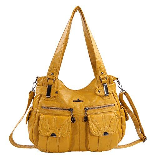 Angelkiss Women's Designer Handbag Large Double Zipper Multi Pocket Washed, Yellow
