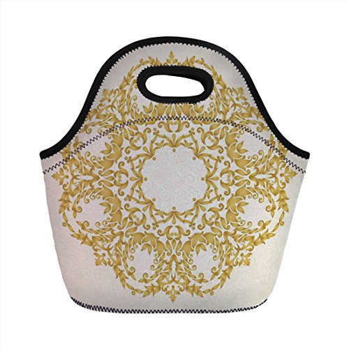 (Neoprene Lunch Bag,Victorian Decor,Traditional Gold Floral Round Circle with Baroque Elements Turkish Ottoman Style Art,Cream,for Kids Adult Thermal Insulated Tote)