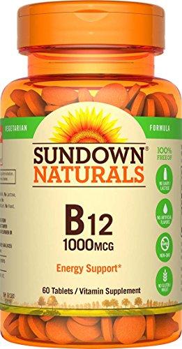 Sundown Naturals Vitamin B-12 High Potency 1000 mcg, 60 Tablets (Pack of 3)