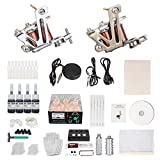 Chiitek Easy Assemble Complete Tattoo Kit for Starter 2 Coiled Tattoo Machine Power Supply 2 Aluminum Grips Foot Pedal Ink Cup Needles and 50 O Rings Good for Lining and Shading