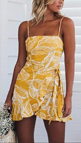 Jaycargogo Robe D'été Imprimé Floral Dos Nu Féminin Fines Bretelles Sexy Imprimé Feuilles Mini Robe Jaune