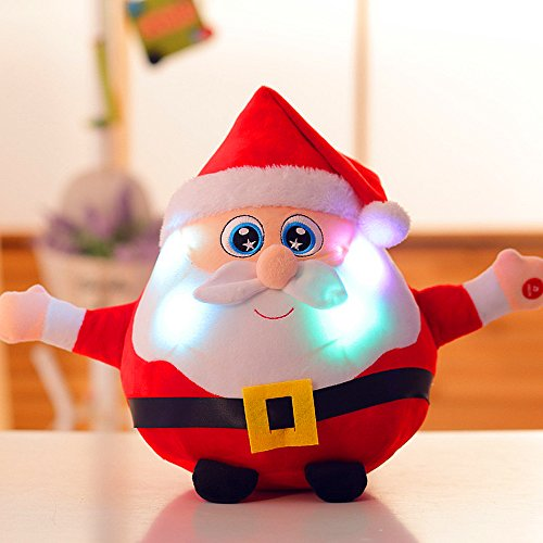 MUMENG LED Luminous Music Rag Doll, Sing-Song Santa Reindeer Toy with RGB Twinkle Light Adding Festive Atmosphere Ideal for Christmas Gift, Bedside Decor, Party Decor