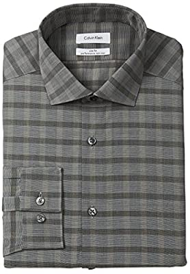 Calvin Klein Men's Non Iron Slim Fit Buffalo Check Spread Collar Dress Shirt