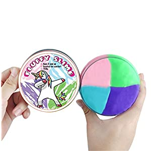 Best Rainbow Unicorn Fluffy Slime 4 Pack for Kids and Adults to Relieve Stress and Play while Exploring Creativity, Soft with a Delightful Scent, Beautiful Package for Storage, Non Toxic, 6OZ