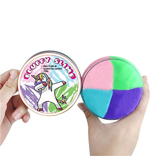 Best Rainbow Unicorn Fluffy Slime for Kids and Adults to Relieve Stress and Play while Exploring Creativity, Soft with a Delightful Scent, Beautiful Package for Storage and Party Favor, Non Toxic, (Beautiful Scent)
