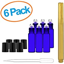 Culinaire 6 Pack Of 10 ml Blue Glass Bottles with Stainless Steel Roller Balls / Caps & 3 ml Dropper with Gold Glass Pen included
