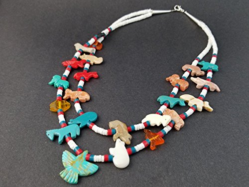 - Handmade Thunderbird Double Strand White Clam Mixed Animals Fetish Necklace